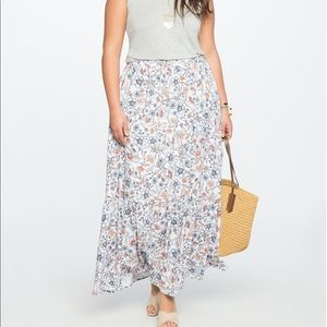 Eloquii Floral tiered maxi skirt size 18